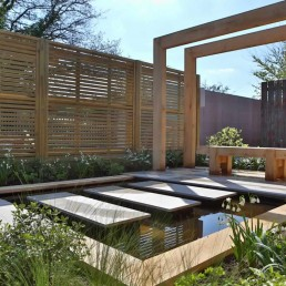 Modern pond + stepping stones + pergola