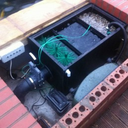 Koi pond filtration box system