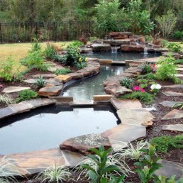 Natural stone edged pond