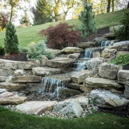Pondless natural rock waterfall