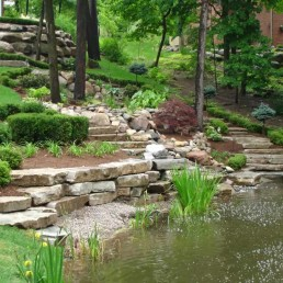 Rockery waterfall + natural pond