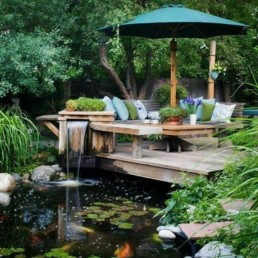 Timber decking + Koi pond